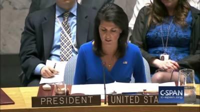 امریکی سفیر نکی ہیلی: ایران کو میزائل تجربات، دہشت گردی کی معاونت، انسانی حقوق کی پامالیوں اور سلامتی کونسل کی قراردادوں کی خلاف ورزیوں کی ذمہ داری قبول کرنا ہوگی