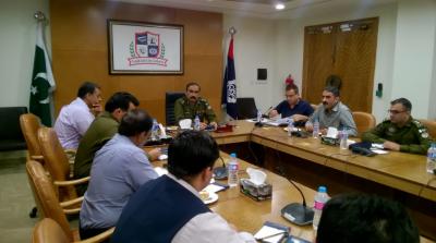 پنجاب سیف سٹی اتھارٹی میں سی پی او لاہور ، کیپٹن ریٹائرڈ امین وینس کی زیر صدارت سکیورٹی کے حوالے سے اجلاس