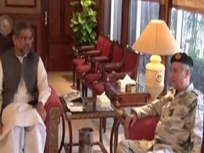 وزیراعظم شاہد خاقان عباسی کی نیول چیف ایڈمرل ظفر محمود عباسی سے ملاقات