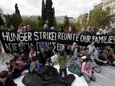 یونان میں مہاجرین کا پارلیمان کے سامنے مظاہرہ
