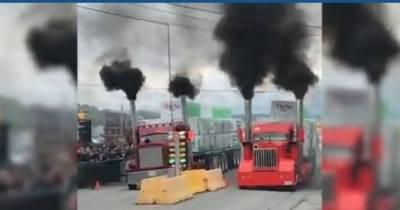 کینیڈا کی عام سڑکوں پر دیو ہیکل ٹرکوں کی منفرد ریس کا انعقاد کیا گیا۔