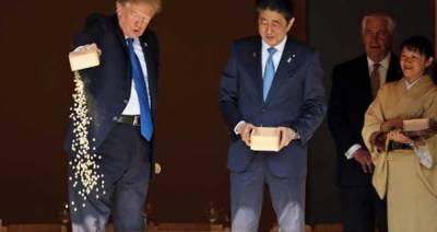 جاپان کے سفر کے دوران کارپ کے ایک طالاب میں مچھلی کی خوراک کا ایک باکس ڈمپنگ کیا:ٹرمپ