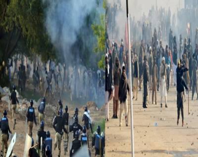 اسلام آباد انتظامیہ کا دھرنا مظاہرین کے خلاف آپریشن ، شیلنگ اورپتھراؤ کے باعث پولیس اہلکاروں سمیت 150 سے زائد افراد زخمی ،سینکڑوں مظاہرین گرفتار