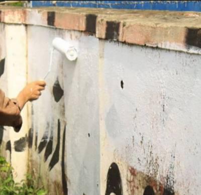 اسلام آباد کے سیکٹر جی سکس اور جی سیون میں سکول کی دیواروں پر نامعلوم افرادکی جانب سے وال چاکنگ کی گئی،