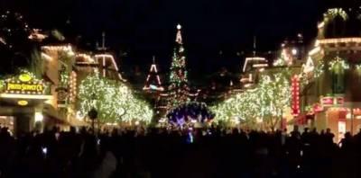ڈزنی لینڈ میں دیوہیکل کرسمس ٹری روشن