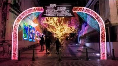 چین کے علاقے مکاؤ روشنیوں میں نہا گیا، سالانہ کرسمس میوزیکل لائٹ فیسٹیول کا انعقاد کیا گیا۔