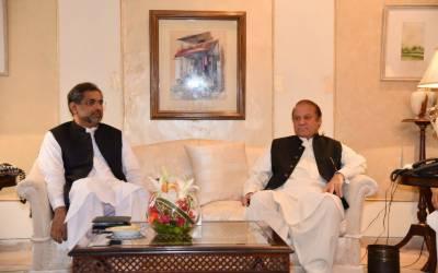 نواز شریف سے وزیر اعظم شاھد خاقان عباسی کی پنجاب ہاؤس میں ملاقات