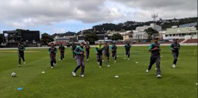 نیوزی لینڈ کے شہر ویلنگٹن میں پاکستانی ٹیم نےجم کر پریکٹس کی