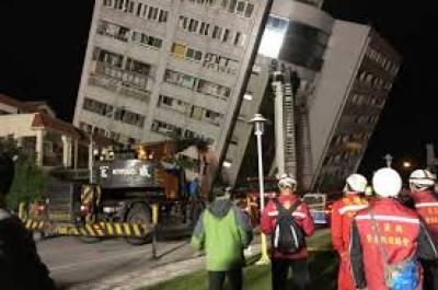قدرتی آفت کے باعث بندرگاہی شہر ہوالین میں ایک ہوٹل سمیت متعدد عمارتیں مہندم ہوگئیں