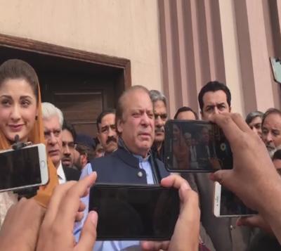 Nawaz Sharif Media Talk Out Side The Nab Court 22 Feb 2018