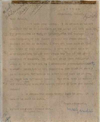 گاندھی کا نایاب خط 50 ہزار ڈالرز میں فروخت کے لیے پیش