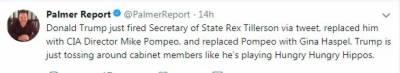 ٹرمپ نے ریکس ٹیلرسن کو عہدے سے فارغ کرکے سی آئی اے کے ڈائریکٹر مائیک پومپیو کو وزیرخارجہ مقرر کردیا