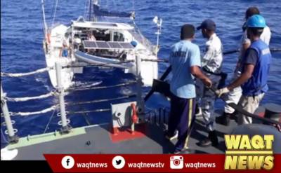 Pak Navy PNS Alamgir Ship Rescues Boat in open sea