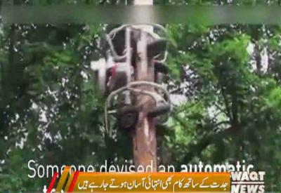 ہ مشین انتہائی مہارت کے ساتھ درختوں کی ٹریمنگ کرتی ہے