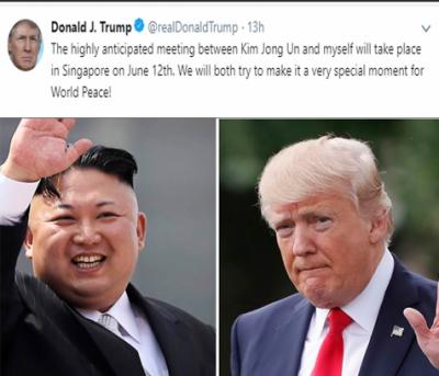 بالآخر ڈونلڈ ٹرمپ نے کم جانگ ان سے ملاقات کی تاریخ کا اعلان کر ہی دیا،