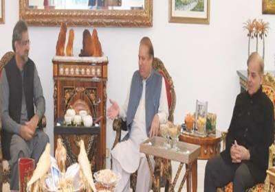 مسلم لیگ ن کے قائد نوازشریف،وزیراعظم شاہد خاقان اور شہبازشریف کے درمیان ملاقات،نوازشریف کے انٹرویوسمیت ملکی مجموعی صورتحال پرتبادلہ خیال