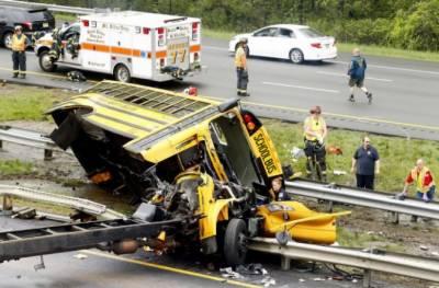 امریکی ریاست نیو جرسی میں سکول بس اور ٹرک کے درمیان خوفناک تصادم میں 2افراد ہلاک جبکہ45 بری طرح زخمی ہوگئے