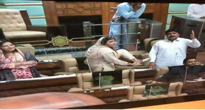 سندھ اسمبلی اجلاس کے دوران اراکین میں زبردست جھڑپ ،مسلم لیگ فنکشنل کی نصرت سحرعباسی کا پیپلزپارٹی کے ممتازجاکھرانی کو جوتا مارنے کی دھمکی