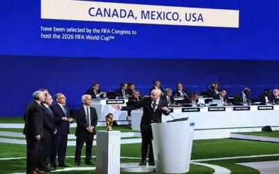 فیفا ورلڈکپ 2026 امریکہ،کینیڈا اورمیکسیکو میں مشترکہ طور پر کھیلا جائے گا۔