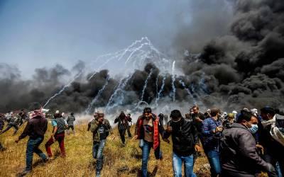اسرائیلی فوج کی فائرنگ، شیلنگ، ایک فلسطینی شہید ، 400 زخمی
