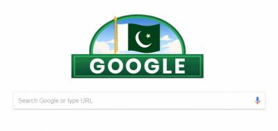 پاکستان کے اکہتر ویں یوم آزادی کے موقع پر گوگل نے بھی اپنا ڈوڈل تبدیل کرکے پاکستانی پرچم کے رنگوں میں رنگ دیا۔