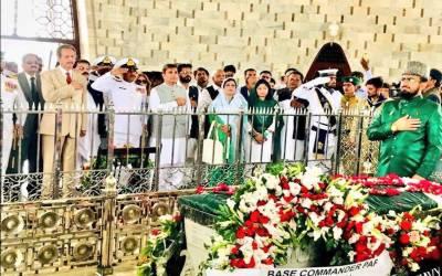 71ویں یوم آزادی کےموقع پرنگراں وزیراعلیٰ سندھ،قائم مقام گورنرسندھ،میئر کراچی اور آئی جی سندھ کی مزارقائد پرحاضری