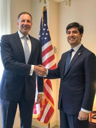 واشنگٹن:پاکستانی سفیرعلی جہانگیرصدیقی سےامریکی اسسٹنٹ سیکریٹری فینن کی ملاقات