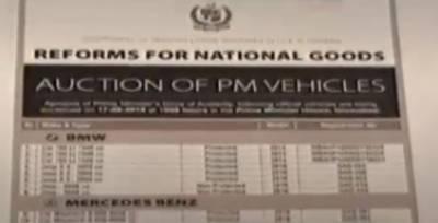 وفاقی حکومت نے وزیراعظم ہاؤس کی اضافی گاڑیاں فوری نیلام کافیصلہ کرلی،تینتیس گاڑیاں نیلام کرنے کے لیے اشتہار جاری کردیا گیا