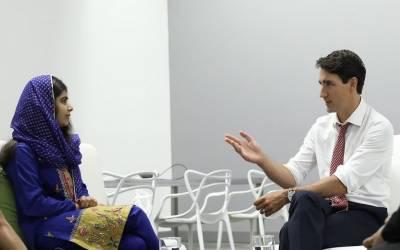 ملالہ یوسفزئی کی کینیڈین وزیراعظم سے ملاقات، لڑکیوں کی تعلیم کے حوالے سے تبادلہ خیال