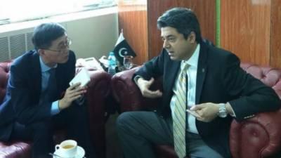 وزیرڈاکٹرفروغ نسیم اور پاکستان میں چین کے سفیرYao Jing کے درمیان اسلام آباد میں ہوا
