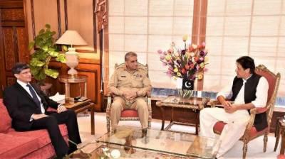 وزیراعظم عمران خان سے آرمی چیف جنرل قمرجاوید باجوہ اور ،ڈی جی آئی ایس آئی کی ملاقات، وزیراعظم کودہشتگردی کیخلاف آپریشن،بھارتی دھمکیوں پربریفنگ دی گئی