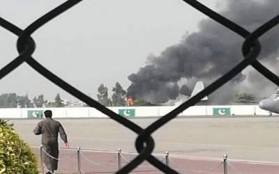 بے نظیرائیرپورٹ پر سی 130 طیارے میں آگ لگ گئی ، پائلٹ محفوظ