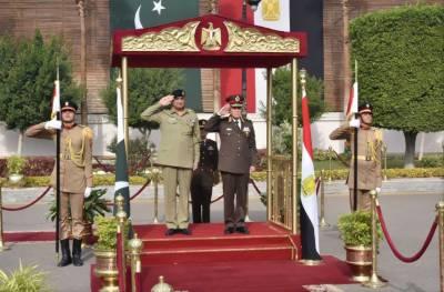 آرمی چیف کی سرکاری دورے پر مصر آمد، عسکری و سیاسی قیادت سے ملاقاتیں