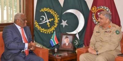 آرمی چیف جنرل قمر جاوید باجوہ سے جنوبی افریقہ کے ہائی کمشنر میپنڈلو جیلی کی ملاقات