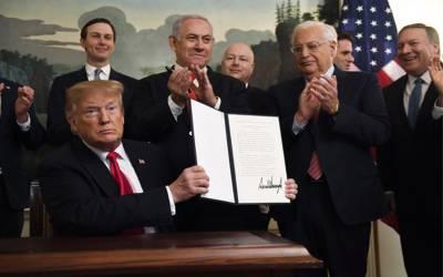 ٹرمپ نے گولان چوٹیوں پر اسرائیل کی خودمختاری باضابطہ تسلیم کرلی۔