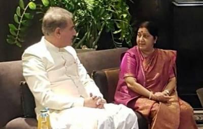 وزیر خارجہ شاہ محمود قریشی کی بھارتی وزیر خارجہ سشما سوراج سے غیر رسمی ملاقات