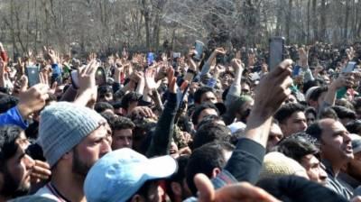 مقبوضہ کشمیر میں کشمیری نو جوان زاکرموسیٰ کی شہادت کےخلاف شدید احتجاج