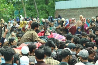 مقبوضہ کشمیر:ریاستی دہشتگردی میں شہید دو نوجوان سپرد خاک،علاقے میں ہڑتال،جھڑپوں میں متعدد افراد زخمی