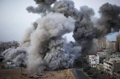 اسرائیل کی جنگی جارحیت، غزہ میں فضائی بمباری شروع