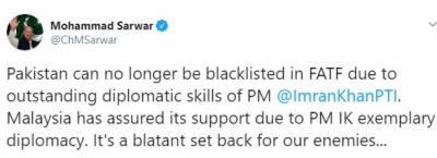 پاکستان کو اب ایف اے ٹی ایف میں بلیک لسٹ نہیں کیا جا سکتا: گورنر پنجاب