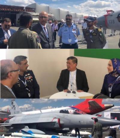 پیرس ایئر شو میں پاکستان کے لڑاکا طیارے جے ایف سترہ تھنڈر کی شاندار کارکردگی کا مظاہرہ
