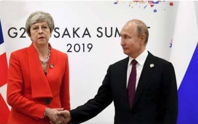 برطانوی وزیراعظم اور روسی صدر کے درمیان سرد مہری کا شکار خاموش مصافحہ