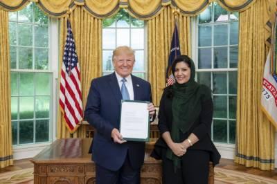 شہزادی ریما نے اپنی تقرری کی سفارتی اسناد امریکی صدر ٹرمپ کو پیش کردیں۔