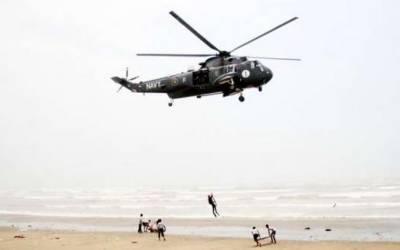سمندر میں ڈوبنے والے دو افراد کی تلاش کے لیے پاک بحریہ کا سرچ آپریشن جاری