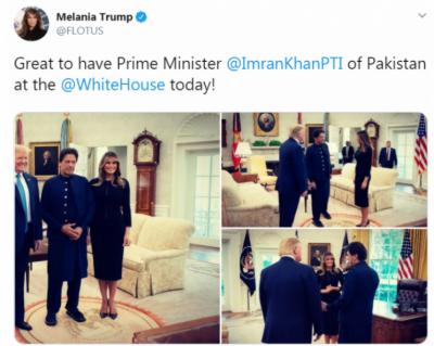 وائٹ ہاؤس میں وزیر اعظم پاکستان عمران خان سے ملاقات کر کے اچھا لگا: میلانیا ٹرمپ