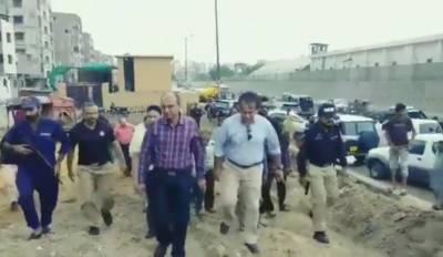 شہر قائد میں تیز بارشیں متوقع، وزیر بلدیات کا شہر کے مختلف علاقوں کا دورہ