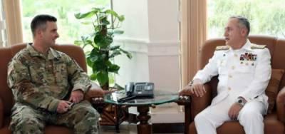 امریکہ کے سینئر ڈیفنس آفیشل بریگیڈیئر جنرل ایڈم آر سلوَرز کی پاک بحریہ کےسربراہ ایڈمرل ظفر محمود عباسی سے ملاقات