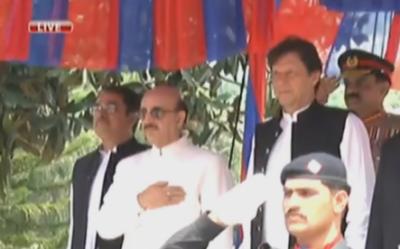 وزیراعظم عمران خان کی مظفر آباد آمد، گارڈ آف آنر پیش کیا گیا