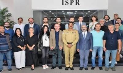 ترک صحافتی وفد کا آئی ایس پی آر آفس کا دورہ ،ترک صحافیوں کو مقبوضہ کشمیر کی صورت حال پر بریفنگ