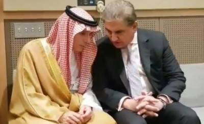 شاہ محمود کی سعودی وزیر خارجہ سے ملاقات،کشمیر کی صورتحال پر گفتگو